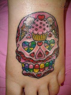 Candy Sugar Skull Tattoo On Foot : Sugar Skull Tattoos Girly Skull Tattoos, Sugar Skull Tattoos, Candy Tattoo, Tattoo On, Skull Tattoo Design, Tattoo Designs, Tattoo Ideas, Foot Tattoos, Sleeve Tattoos