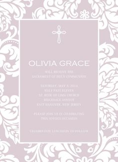 Baptism or First Communion Invitation by OliveBranchPapery on Etsy, $15.00