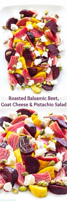 Roasted Balsamic Beet, Goat Cheese and Pistachio Salad | Roasted beets tossed in a white balsamic vinaigrette and plated with crumbles of goat cheese and pistachios. An easy and impressive side dish! #BeetSaladWithGarlic