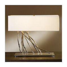 "Hubbardton Forge Brindille 16.5"" Table Lamp Shade Color: Flax, Finish: Opaque Natural Iron"