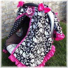 Baby Carseat Canopy / Carseat Cover / Carseat Tent / Carseat Blanket CREATE YOUR OWN Colors RuFFle Cover. $42.99, via Etsy.