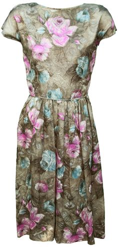 1960s Medium Dress Floral Print Watercolor by TopangaHiddenT