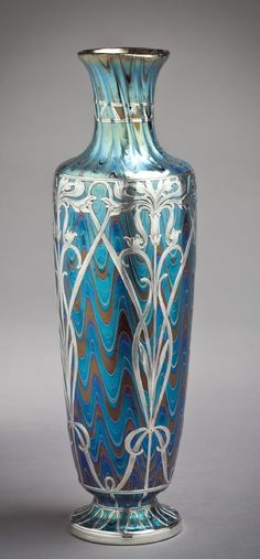 Loetz Art Nouveau Iridescent Glass Vase with Silver Overlay, Austria. An Inspiration for Iridium necklace.