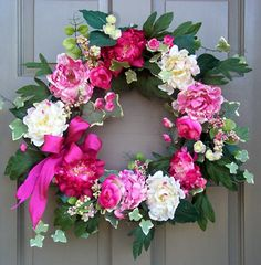 A Peony wreath would look so pretty on the front door of our farmhouse.