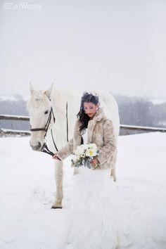 Winter wedding, winter bride, bouquet, fur coat, shawl, white horse WINTER WONDERLAND WEDDING www.elegantwedding.ca