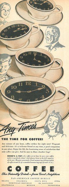 coffee, Life, September 24, 1945 Auf thegildedcentury.tumblr.com http://www.pinterest.com/martinebiboune/th%C3%A9-ou-caf%C3%A9-chocolat/