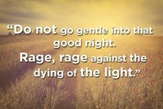 """""""Do not go gentle into that good night"""" by Dylan Thomas 16 Gorgeous Poems That Can Help You Cope With Your Depression Fate Tattoo, Dying Of The Light, Everything Will Be Ok, Lovers Quotes, Different Quotes, Good Night Quotes, Natural Phenomena, Great Words, Healthy Mind"""
