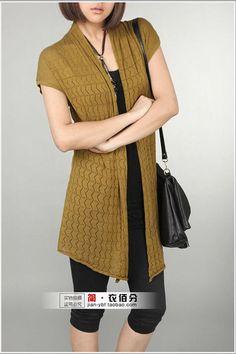 Fashion Short Sleeve Long Cardigan Sweater With Belt Sweater ...