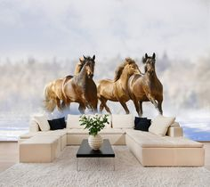Wild horses in winter wall mural, wall decal, repositionable peel & stick wall paper, wall covering