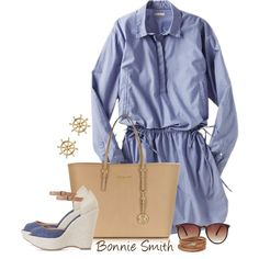 """blue shirt dress"" by bonnaroosky on Polyvore"