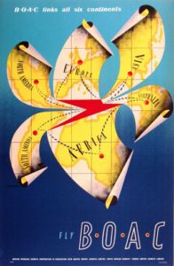 1950 B. links all six continents, England vintage travel poster Aeropostale, British Airline, British Airways, Vintage Travel Posters, Vintage Airline, Airline Travel, Vintage Art Prints, Travel Companies, Advertising Poster