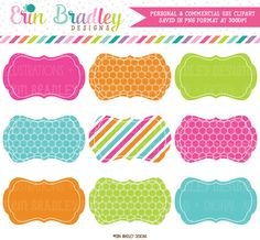Rainbow Labels Clipart – Erin Bradley/Ink Obsession Designs