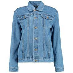 Boohoo Jodie Oversize Slogan Print Denim Jacket | Boohoo ($31) ❤ liked on Polyvore featuring outerwear, jackets, oversized bomber jacket, denim bomber jacket, oversized denim jacket, bomber jacket and puffy bomber jacket