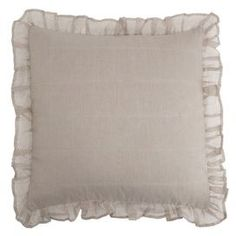 """Linen and cotton-blend throw pillow with ruffled trim. Product: Pillow   Construction Material: Linen and cotton    Color: Flax   Features: Insert included         Dimensions: 18"""" x 18""""      Cleaning and Care: Machine washable"""