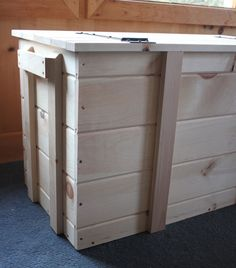 Wood Pellet Storage Bins & Wood Pellet Storage Box Large Boot Chest Unfinished Pine Storage ...