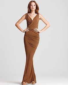 Donna Karan New York - Floor Length Twist Draped Dress