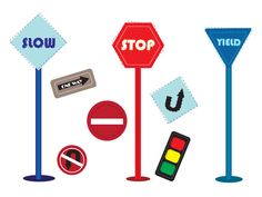 Road signs Free vector