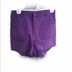 "High waisted purple cut offs These have never been worn they were sold at urban outfitters under their urban renewal line where they repurpose fabrics into new things waist is 28"" 13"" in length interior of shorts show the tag of the vintage jeans they were made of labeled ""30"" but I have measured these and they are only 28"" around the waist Urban Outfitters Shorts Jean Shorts"