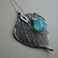 Real Aspen Leaf And Chalcedony Lariat Necklace