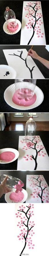 DIY Cherry Blossoms by Family Parenting Magazine via duitang #Cherry_Blossom_Painting Family_Parenting_Magazine #duitang