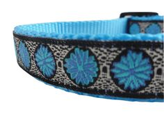 Blue and Black Medallion Adjustable Dog Collar $14.50 USD