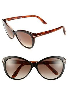 Tom Ford 'Telma' 60mm Cat Eye Sunglasses in Shiny Black/Havana | Nordstrom