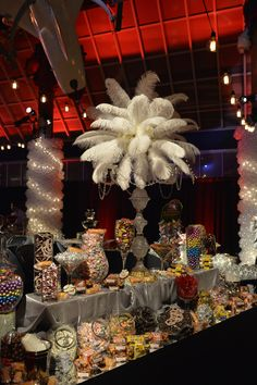 Feathered Centerpieces - Great Gatsby theme #events