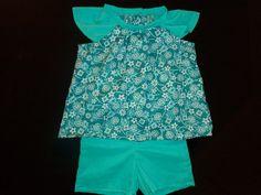 Ensemble tunique short vert motifs fleurs  : Mode Bébé par petites-aiguilles en vente sur ma boutique