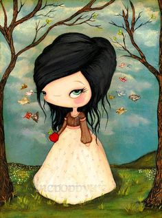 Snow White Print Forest Fairy Tale Bird Girl Wall por thepoppytree