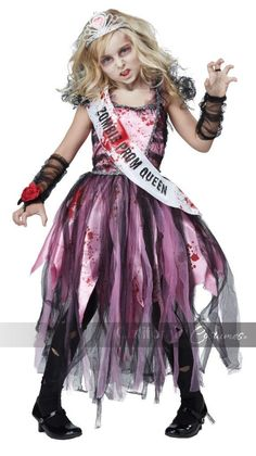 #00529 The most popular girl at the graveyard dance. The Zombie Prom Queen child costume is a pink dress with splatter graphic print. It features a dress with tattered stripes of chiffon fabric. It in