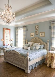 Image result for Shabby Chic King-Size Canopy Bed with Almond Chiffon Drapes and Blue Rose Accents in Master Bedroom