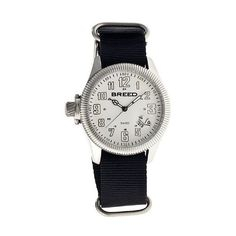 Breed Angelo Nylon-Band Swiss Watch ($193) ❤ liked on Polyvore featuring men's fashion, men's jewelry, men's watches, watches, white, mens white watches, mens leather strap watches and mens analog watches