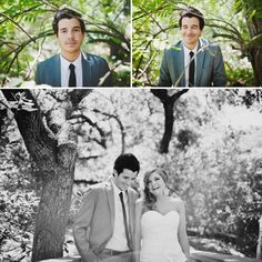woodsy wedding-- I would switch one of the guy pictures with the bride..