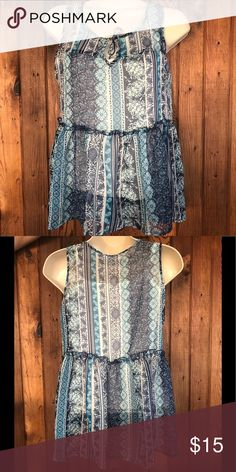 "f78a9a31f3 Epic Threads - ""Blue Opaline"" Top - Girl s L Babydoll - Blue Floral"