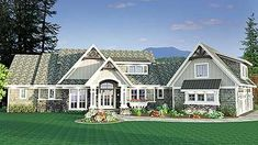 Shingled Showstopper with Angled Garage - 14622RK | Craftsman, Northwest, Shingle, 1st Floor Master Suite, Bonus Room, Butler Walk-in Pantry, CAD Available, Den-Office-Library-Study, PDF, Sloping Lot | Architectural Designs