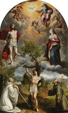 Saint Sebastian between Saint Bernard and Saint Francis / San Sebastián entre San Bernardo y San Francisco // 1582 // Alonso Sánchez Coello // The Holy Trinity / Angels / Virgin Mary