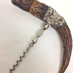American Carved Horn and Sterling Corkscrew Screw It, Horns, Carving, American, Antiques, Vintage, Corks, Antiquities, Horn