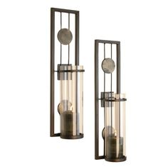 """Danya B QBA636 16"""" Tall Single Candle Wall Sconces with Glass Shades - Set of 2 Aged Metal Home Decor Accents Candle Holders"""