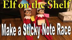 Our Elves on the Shelf made a sticky note race for the kids and it was fun. ________________________________________ The Elf Tradition Have you ever wondered. The Elf, Elf On The Shelf, Shelf Ideas, Sticky Notes, Racing, Shelves, Holiday Decor, How To Make, Fun