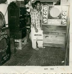 A photo of Clarence Chin and his Son's The Junior Sebastian Sound System in 1962 which was based on Charles St in downtown Kingston from 1954 to the early 70's before he relocated to New York.