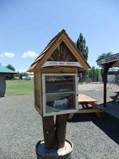 Barbara Wimer. New Meadows, ID.   This Little Free Library is located in the city park. The Library was built by Brandon Lever and Kevin Muir. The Library was installed by Doug Buys, Linnea Hall and Kevin Muir.
