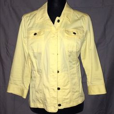 Yellow Jacket Light weight stretchy jacket with 3/4 length sleeves. 98% Cotten 2% spandex Christopher & Banks Jackets & Coats