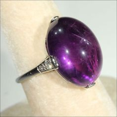 Spectacular Art Deco Cabochon Amethyst and Diamond Ring in 18k White found on Ruby Lane