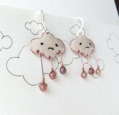 Despondent Clouds. handmade glass enamel earrings by Kris Chavez