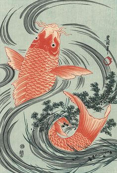 Woodblock print, circa year 1800, Japan., by artist Toyokuni I.   A large, strong, red carp jumps from the swirling water — a classic Japanese design. A brilliant image of the large fish in a rich, orange color against the flowing curves of a rushing stream, with tangles of grasses sweeping around its tail. Toyokuni I did very few nature scenes, and this is one of his best. A wonderful image and a very rare subject to find in reprint, beautifully detailed