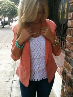 wadulifashions.com - Coral and detailed white top. Work wear! ^H