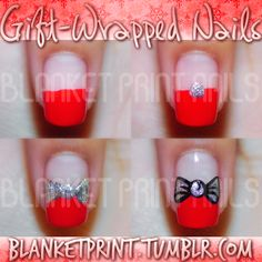 Gift wrapped Nails for Christmas, so cute for Christmas Party