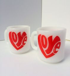 Pair of Vintage Milk Glass Coffee Mugs with Groovy Font Red Love in a Heart Shape.  No chips or cracks!  Design is identical on both sides of