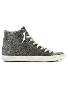 LEATHER CROWN Floral Lace Hi-Top Sneaker