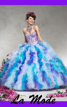 New Stylish Beaded Ball Gown via La Mode. Click on the image to see more!